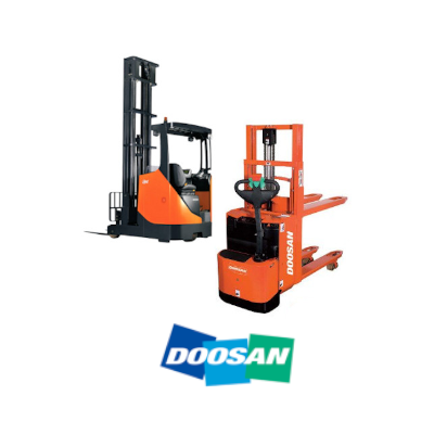 Elektrische/manuelle Lagergeräte von Doosan. Schubmaststapler, Handhubwagen, Doppelstok