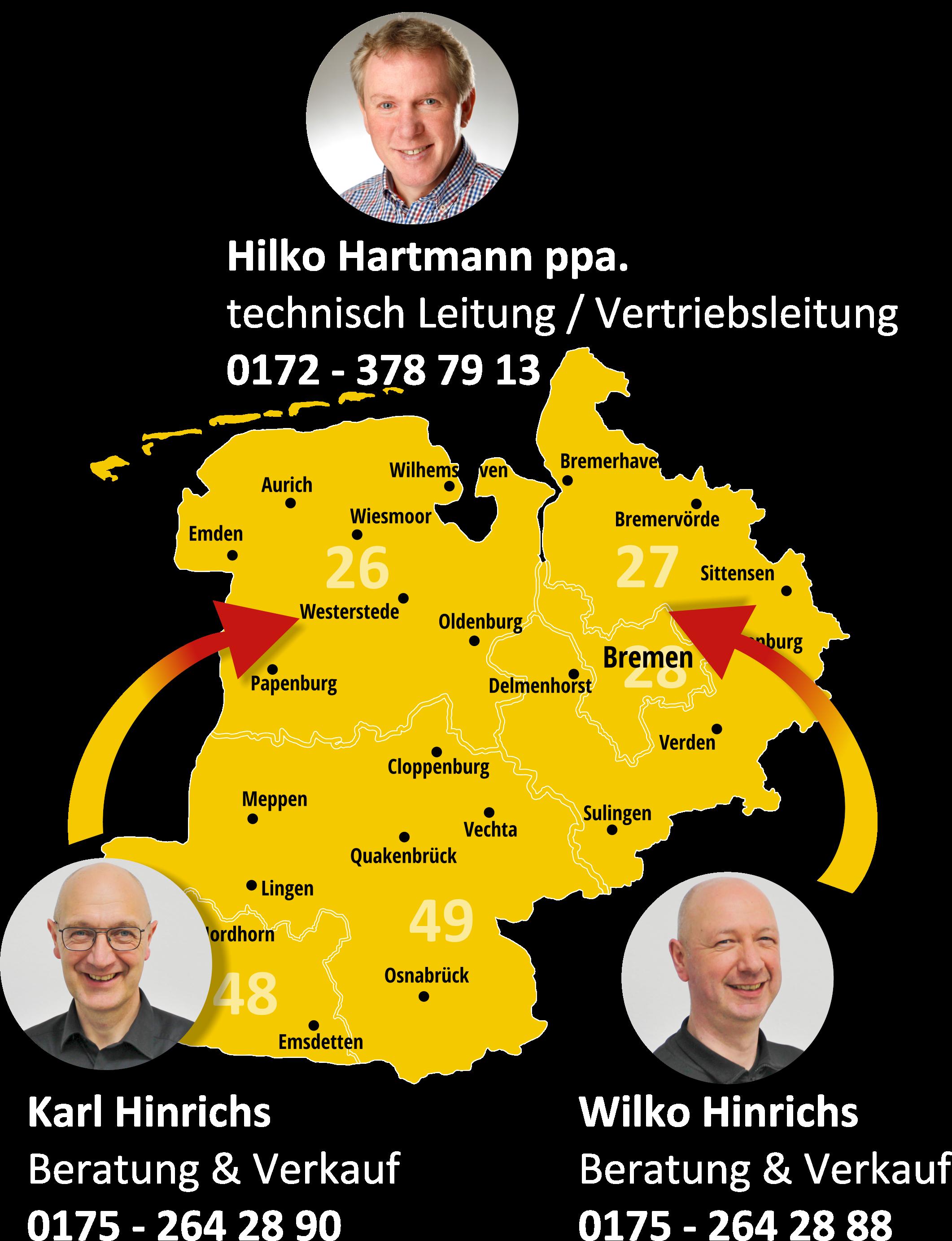 Ansprechpartner für Ihre Region - Karte von Ostfriesland, Ammerland, Rheiderland und Emsland